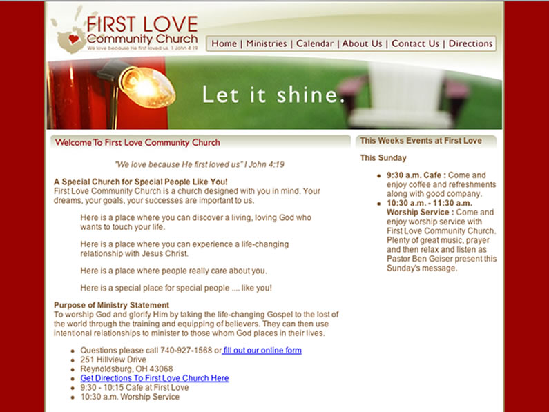 Web design and hosting – First Love Community Church